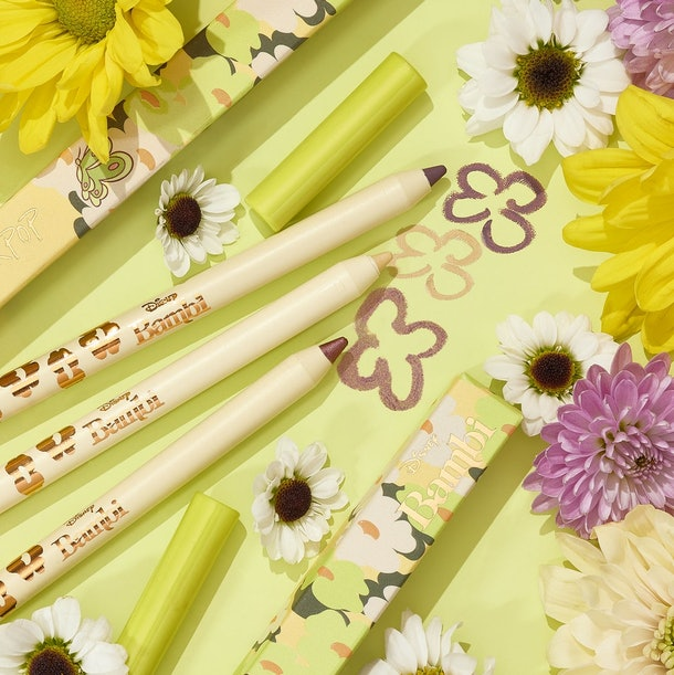 """The Disney """"Bambi"""" x ColourPop eyeliner pencils in Meadow, Purty, and Raindrops."""