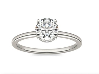 7/8 CTW Round Caydia Lab Grown Diamond Hidden Halo Solitaire Ring 14K White Gold