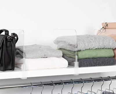 Richards Homewares Acrylic Closet Shelf Divider (2-Pack)