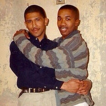 Marc Thompson with his first love, as featured on @blackandgaybackintheday