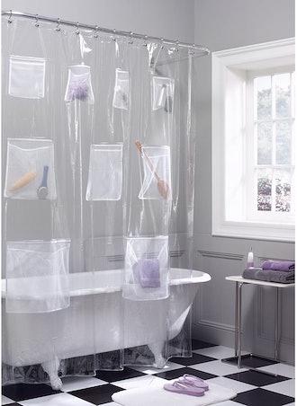 Maytex Shower Curtain With Mesh Pockets