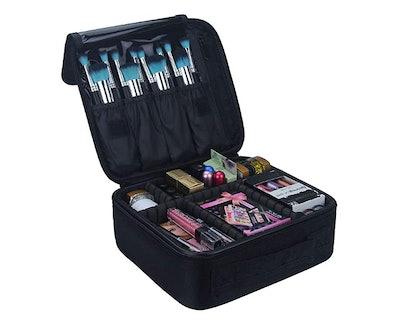 Relavel Travel Makeup Storage Bag with Adjustable Divider