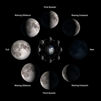 An illustration showing the moon in its different phases throughout the lunar cycle.