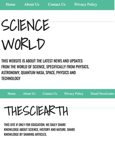 An image of two almost identical domains, one called Science World and another called TheSciEarth