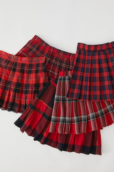 Urban Renewal Recycled Pleated Plaid Mini Skirt