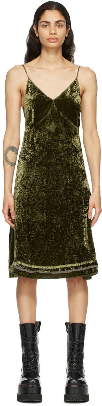 R13 Green Velvet Back Tie Slip Dress