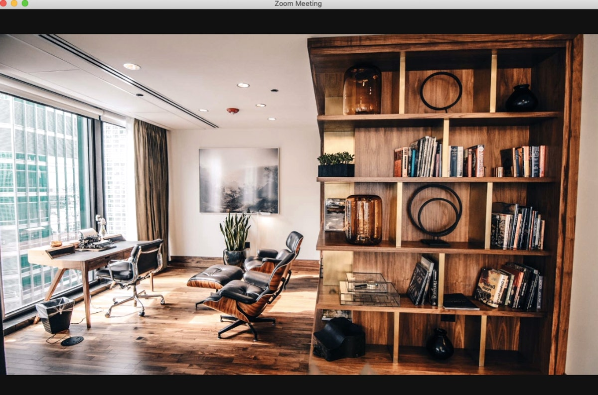This office background for Zoom will have you feeling cozy.