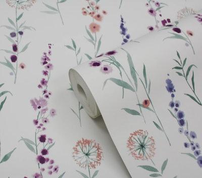 GoodHome Bifora Purple Floral Smooth Wallpaper