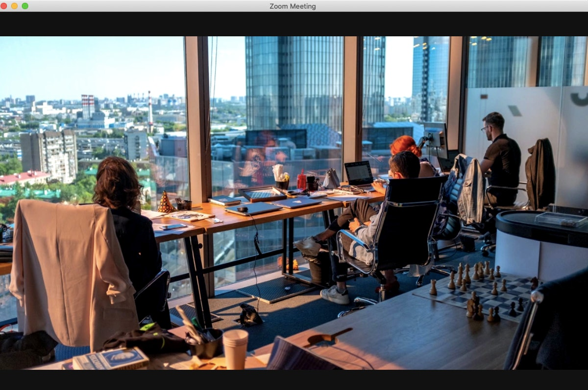 This office Zoom background gives you a great view of a cityscape.