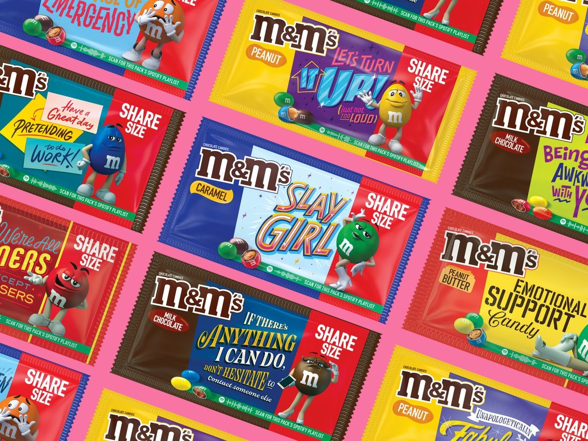 Here's where to buy M&M Message packs for 2021 that feature Spotify playlists and sayings.