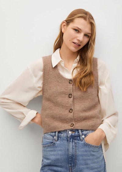 Knitted Vest with Buttons