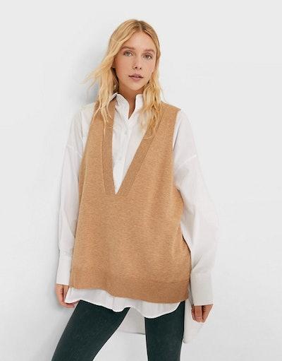 Stradivarius Oversized V-Neck Knit Sweater Vest