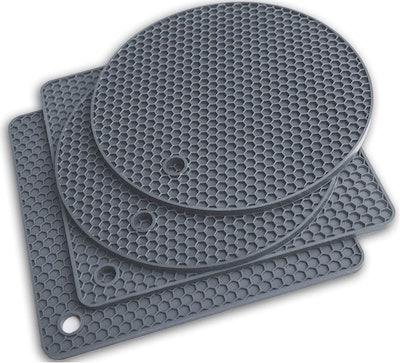 Q's INN Gray Silicone Trivet Mats (4-Pack)