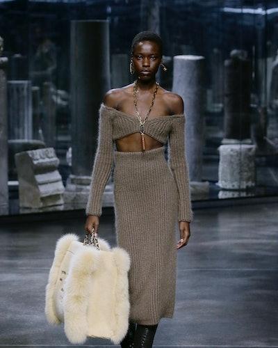 Model walks in Fendi's Fall/Winter 2021 runway show on Feb. 24, 2021.