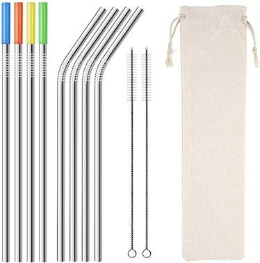 Homemo Metal Stainless Steel Straws Drinking Straws (8-Pack)