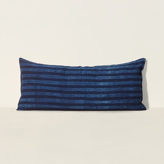 Long Cushion in Kapok with Removable Cover - Indigo Tie-Dye