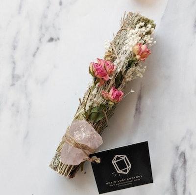 Blue Rose Quartz, Sweetgrass & Cedar Ritual Stick