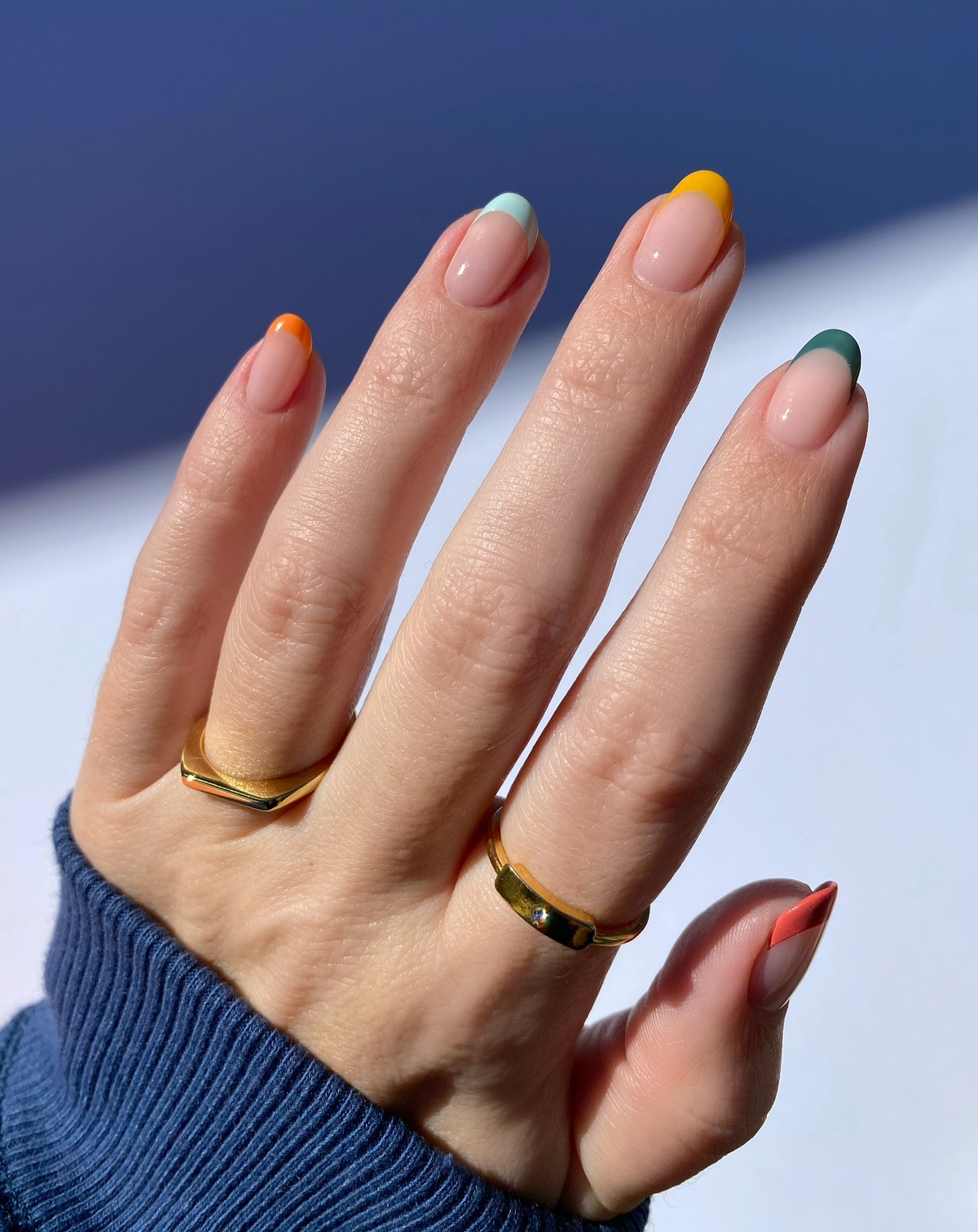 Spring 2021 nail color trend: blue and green.