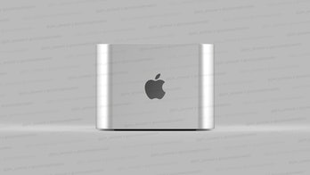 A Mac Pro 'mini' is seen on a counter.
