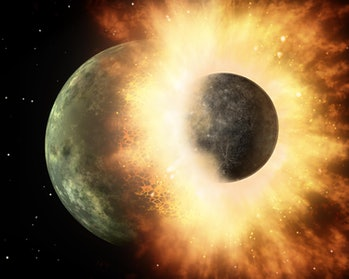 A small planet collides with a larger one, sending out molten material.