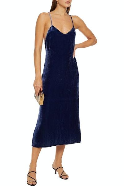 Reformation Moore Open-Back Crushed Velvet Midi Skip Dress