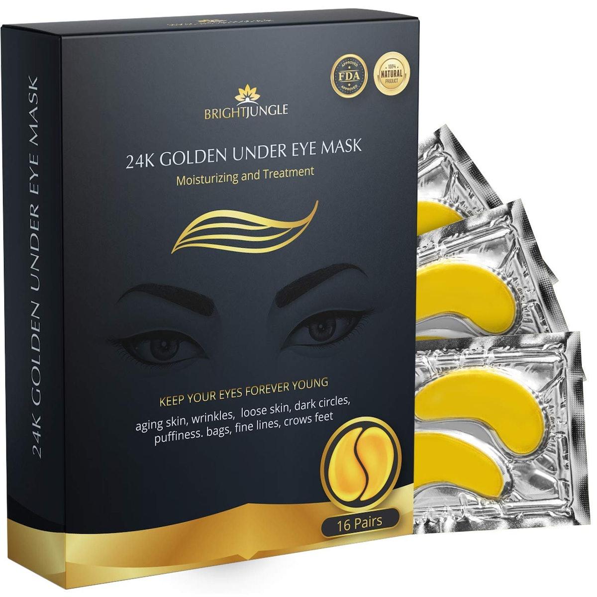 BrightJungle 24K Gold Under Eye Patches (16-Pack)