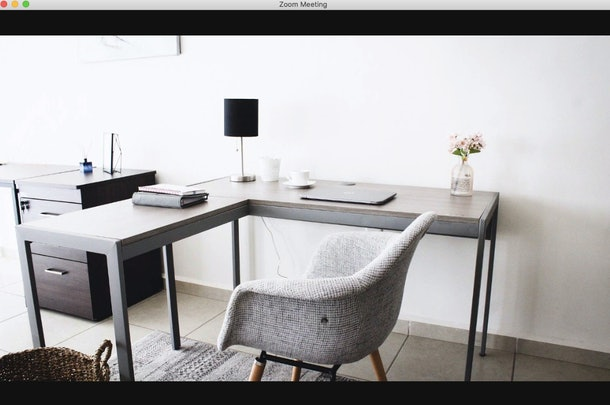 This home office background for Zoom has everything you need to keep your background looking professional.