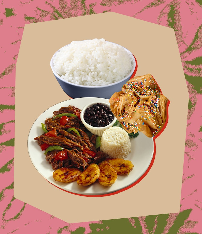 A plate of plantains, chicken, rice and beans. One Latinx woman writes about her experience with diet culture and how it led to disordered eating.