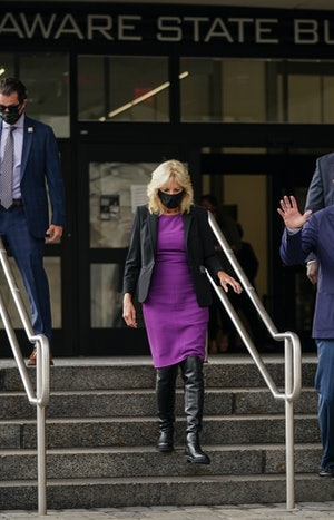 Dr. Jill Biden depart the Delaware State Building after early voting in the state's primary election on September 14, 2020 in Wilmington, Delaware.
