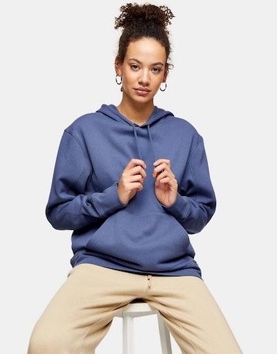 Topshop overlock hoodie in blue