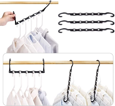 HOUSE DAY Black Magic Space Saving Clothes Hangers Organizer