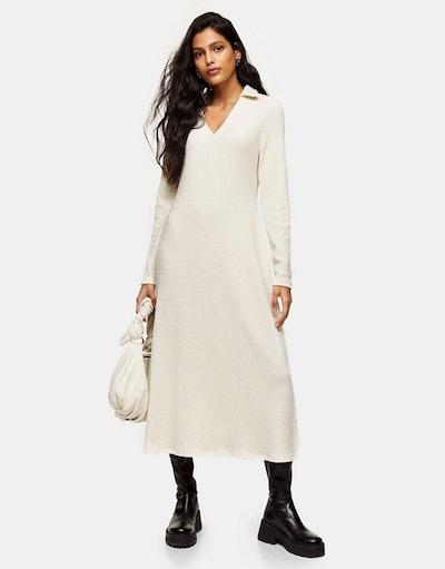 Topshop collared midi dress in cream
