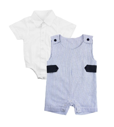 RUGGEDBUTTS Jon Jon Collar Bodysuit & Stripe Overalls Set