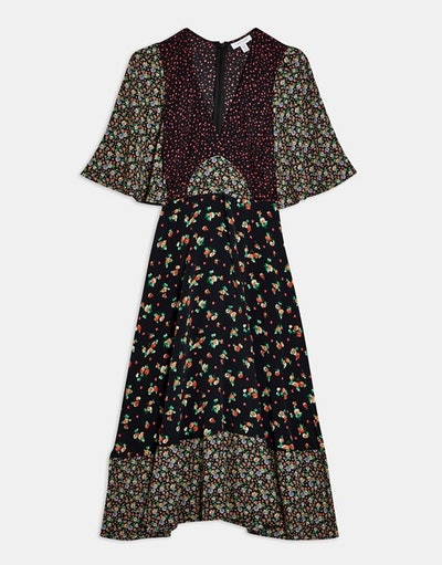 Topshop floral mixed print midi dress in multi