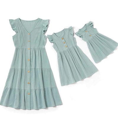 IFFEI Mommy and Me Matching Maxi Dress in Mint Green