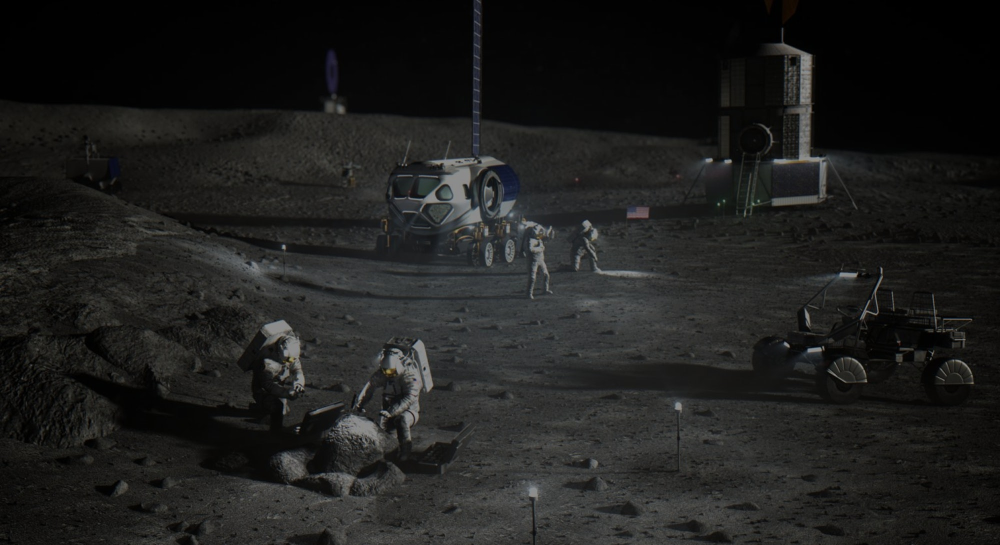 Illustration of NASA astronauts on the lunar South Pole