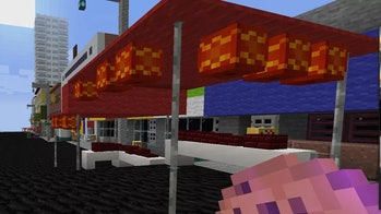 Minecraft screenshot of red Lunar New Year/Chinese New Year stalls in the virtual Chinatown
