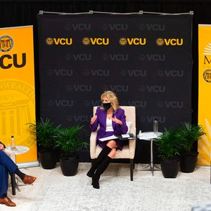US First Lady Jill Biden participatee in a panel discussion on cancer research and care at the Massey Cancer Center at Virginia Commonwealth University in Richmond, Virginia on February 24, 2021.