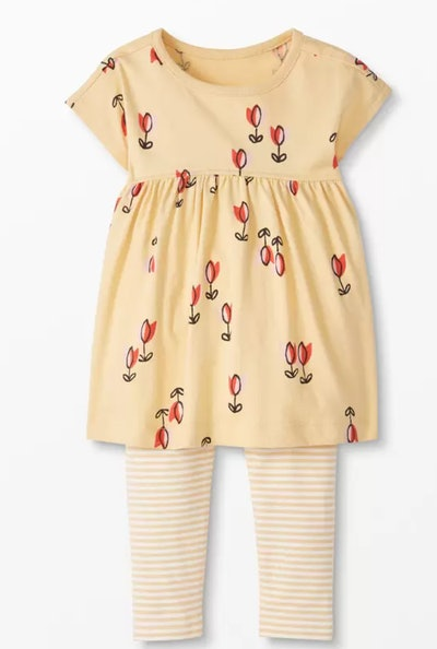 Print Dress & Striped Leggings Set in Tiny Tulips