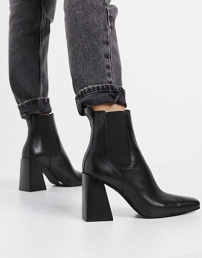 Topshop flared heel chelsea boot in black