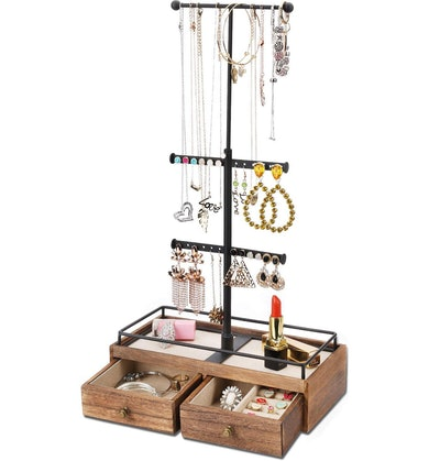 Keebofly Metal & Wood 3-Tier Jewelry Stand