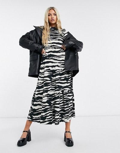 Topshop tiered animal print midi dress in monochrome