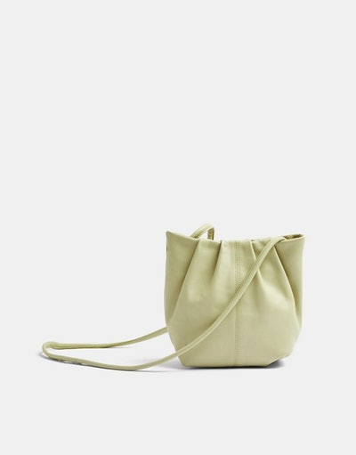 Topshop leather bucket bag in green