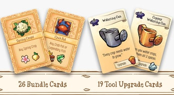 Cards for Stardew Valley. They show different kinds of crop and good alongside tools like a watering...