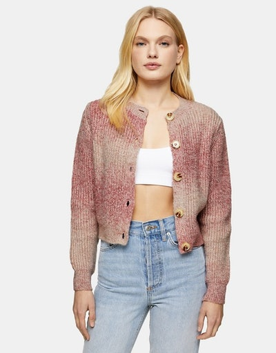 Topshop tie-dye knitted cardigan in pink