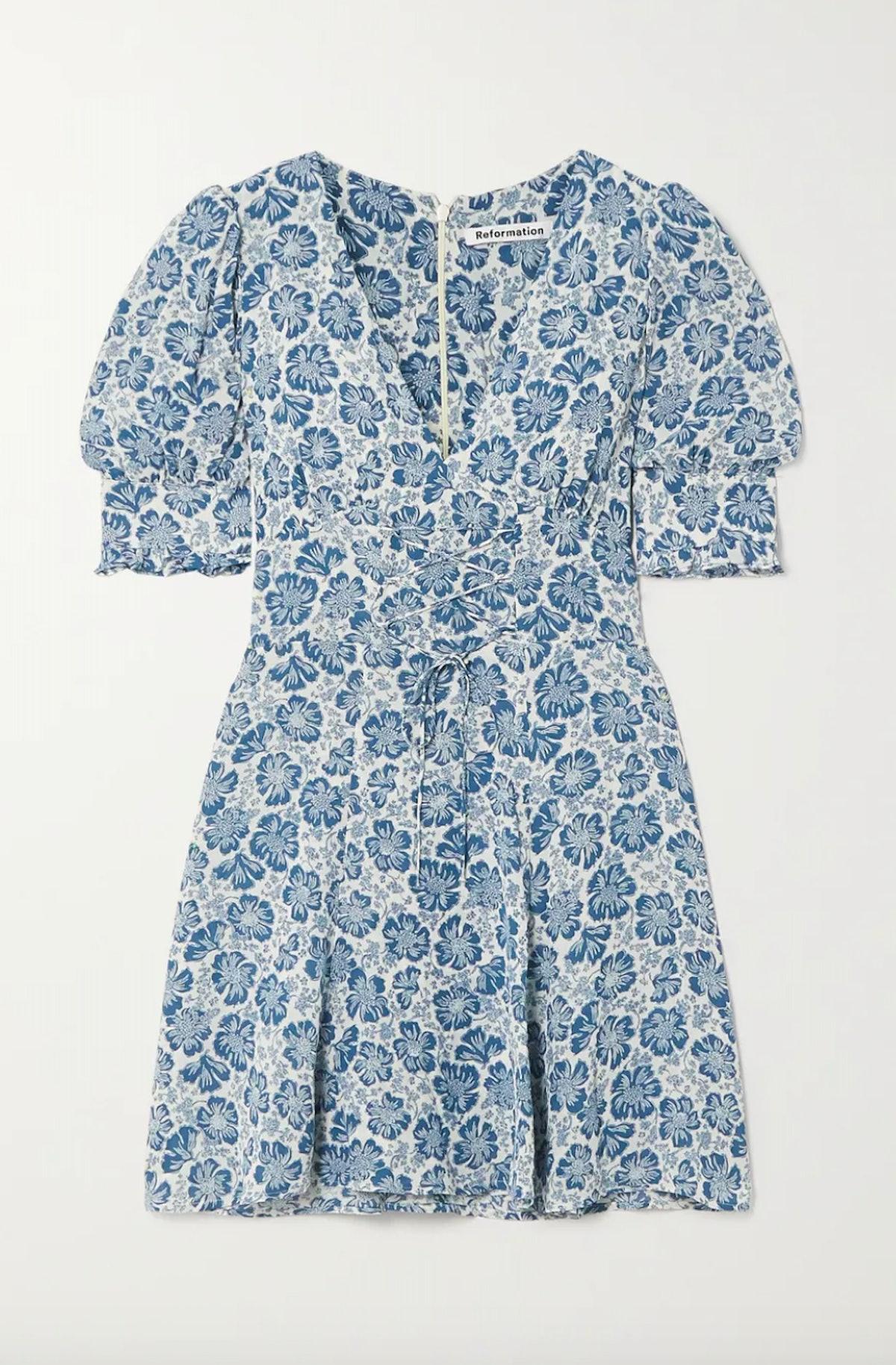 Steph Lace-Up Floral Dress