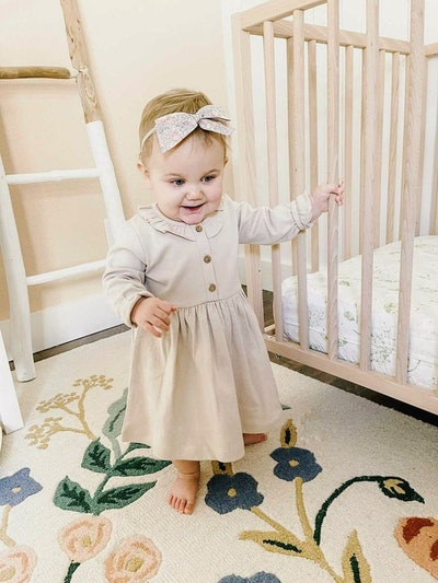 Organic Long Sleeve Ruffle Dress in Fawn