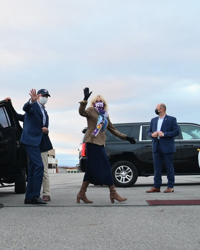 Jill Bsiden depart Wilkes-Barre Scranton International Airport, in Scranton, Pennsylvania on October 24, 2020.