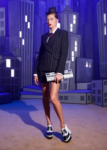 Hailey Bieber from Moschino's Fall Winter 2021 Collection.