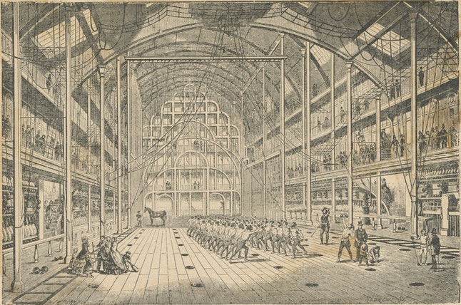 A mid-19th century drawing of a gymnasium in Paris.